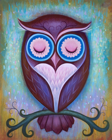 Sleepy Owl - Fine Art Print