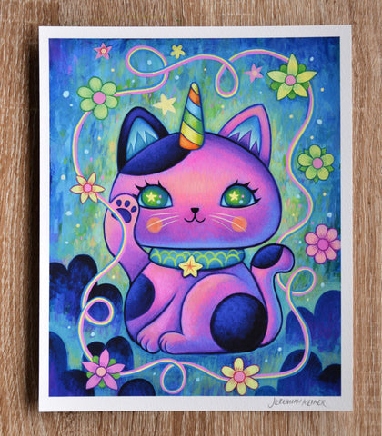 Unicorn Manekineko - Fine Art Print