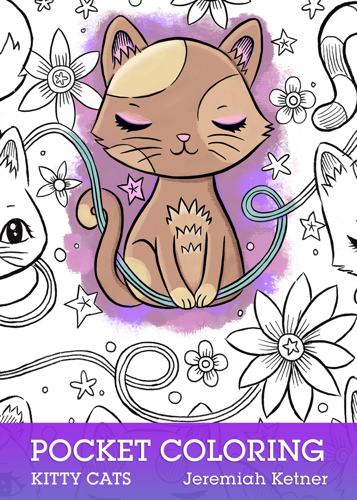 Pocket Coloring Book - Kitty Cats | Instant Download pdf | Jeremiah Ketner