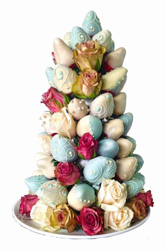 Simply Blue Strawberry Rose Tower (48 HOUR ADVANCE ORDER NOTICE REQUIRED)