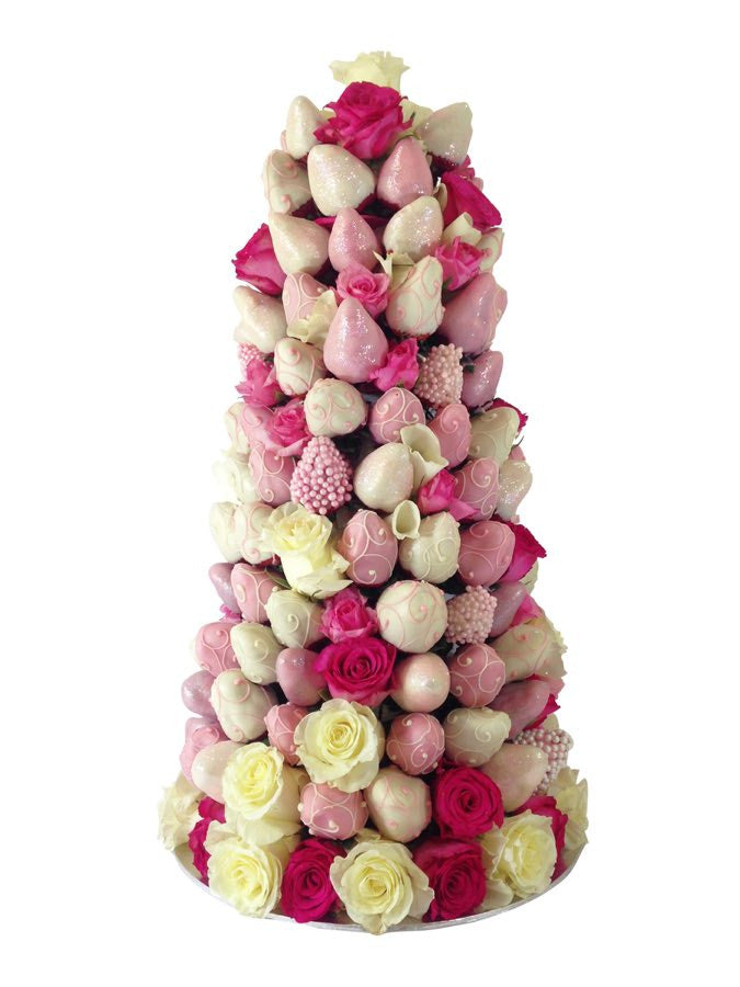 Simply Pink Strawberry Rose Tower (48 HOUR ADVANCE ORDER NOTICE REQUIRED)