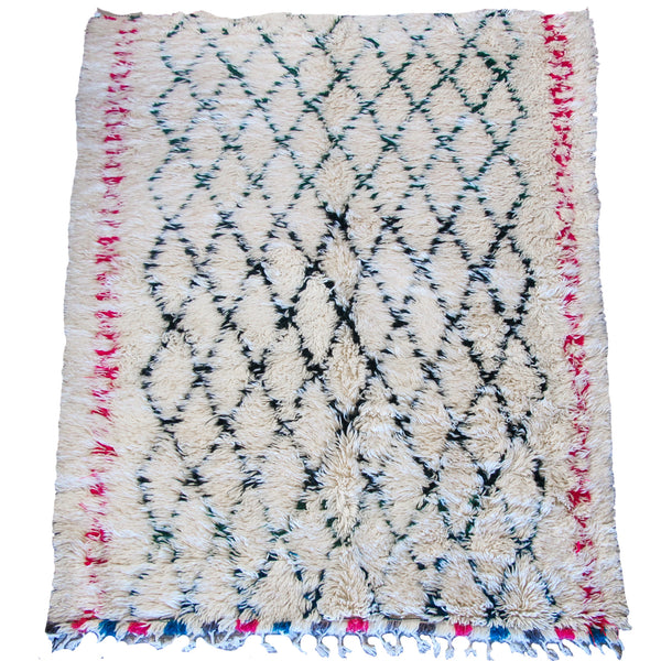 Large Cream, Green and Pink Beni Ouarain Rug