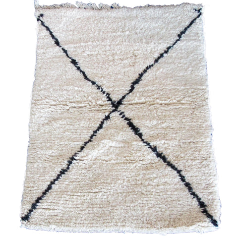 Small Cream and Black Beni Ouarain Rug
