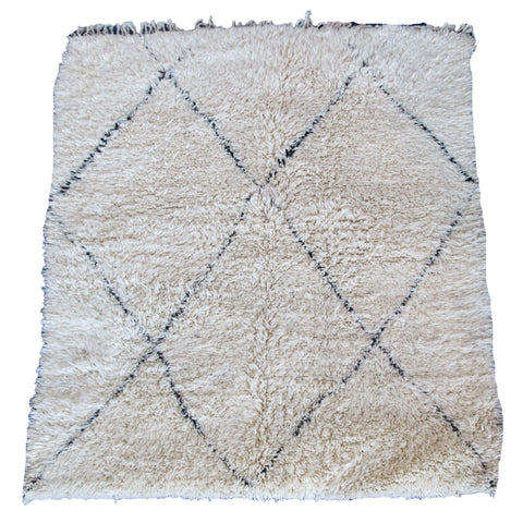 Medium Cream and Black Beni Ouarain Rug