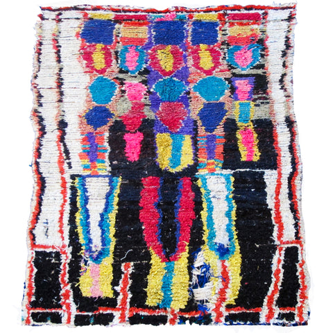 Medium Multicolored Vintage Boucherouite Rug