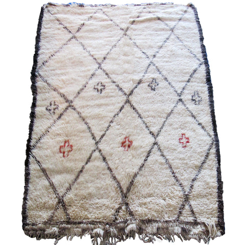 Large Vintage White Beni Ouarain Rug with Cross Motifs