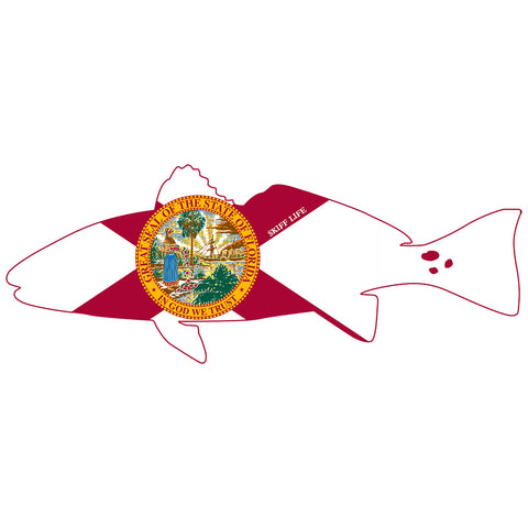 Redfish Outline with Florida Flag Decal