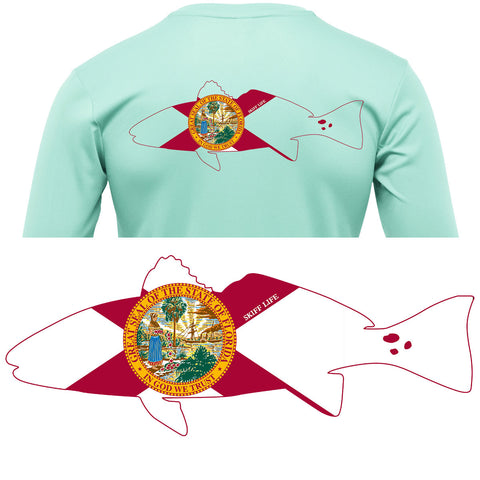 Redfish Outline with Florida State Flag Fishing Shirt