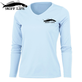 Womens Fishing Shirt Redfish Florida Flag custom Sleeve - Skiff Life