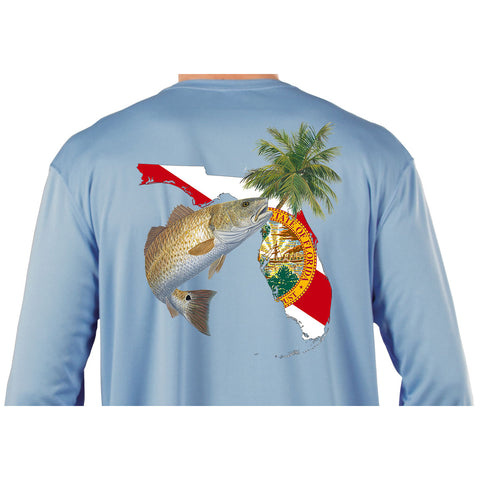 Kids Fishing Shirts Redfish Florida State Flag Custom Sleeve - Skiff Life