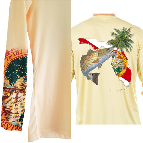 Redfish Florida Fishing Shirt with FL State Flag Sleeve -  - Skiff Life