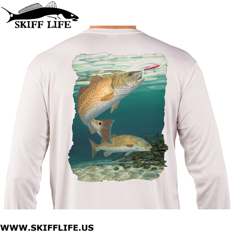 Fishing Shirt Red Hot Redfish Design - Skiff Life
