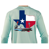 Fishing Shirt Poling Skiff Texas State Flag with Optional Flag Sleeve - Skiff Life