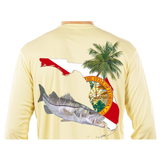 Snook Florida Long Sleeve Mens Fishing Shirt with Florida State Flag Sleeve