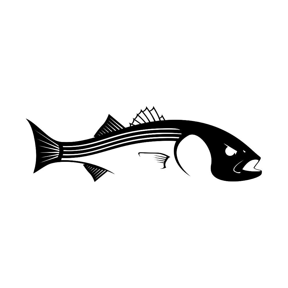 Striper car decal striper stickers truck boat coolers for Fishing stickers for trucks