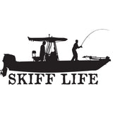 Skiff Life T-Top Flats Console Fishing Boat-Car Decal Stickers - Skiff Life - We Fish Skinny Water! - 2