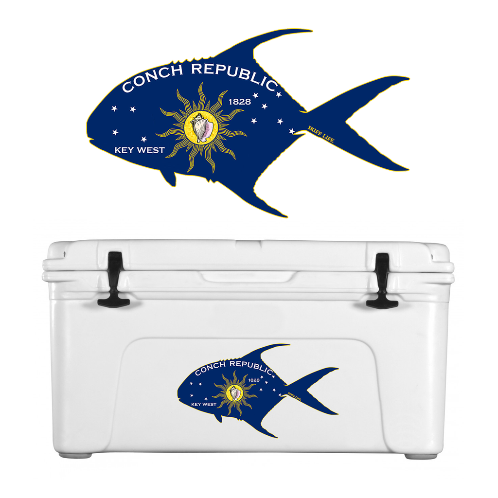 Permit Outline with Conch Republic Flag Decal