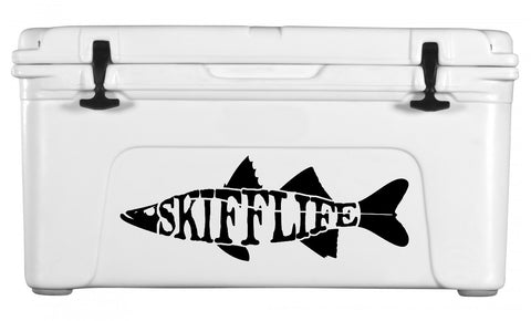 Skiff Life Snook Fish Car & Truck Decal Stickers Text - Skiff Life - We Fish Skinny Water! - 5