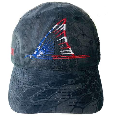 Red White & Blue Fishing Hat Redfish Tail Kryptek Black Camo - Skiff Life