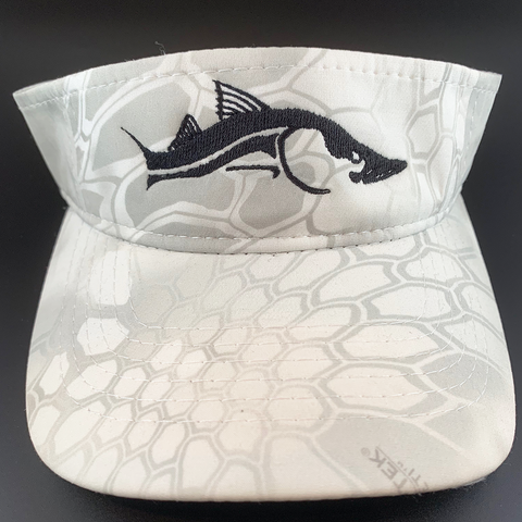 Black Snook White YETI Wraith Camo Fishing Visor Hats - Skiff Life