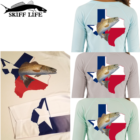 Womens Fishing Shirt Redfish Texas Flag custom Sleeve - Skiff Life