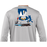 Fishing Shirt Poling Skiff Louisiana State Flag - Skiff Life