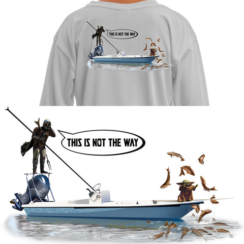 YOUTH/Kids Mandalorian Baby Yoda Fishing Shirt Poling Skiff - Skiff Life