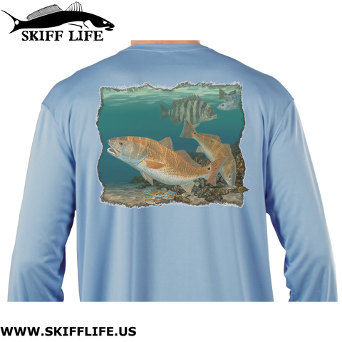 Fishing Shirt Fat Boys Redfish Sheepshead Design by Randy McGovern - Skiff Life