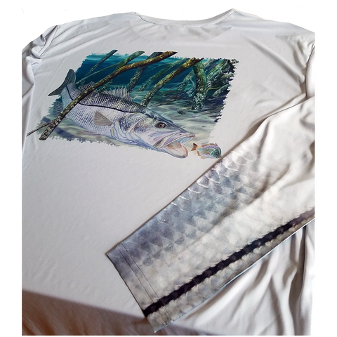 Snook Sleeve on Fishing Shirt Snook Design - Skiff Life