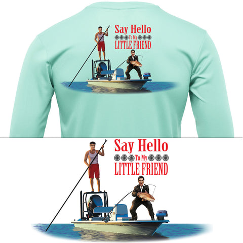 Redfish Scarface Say Hello To My Little Friend Mens Fishing Shirt