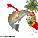 Redfish Florida Fishing Shirt with Florida State Flag Sleeve - Skiff Life