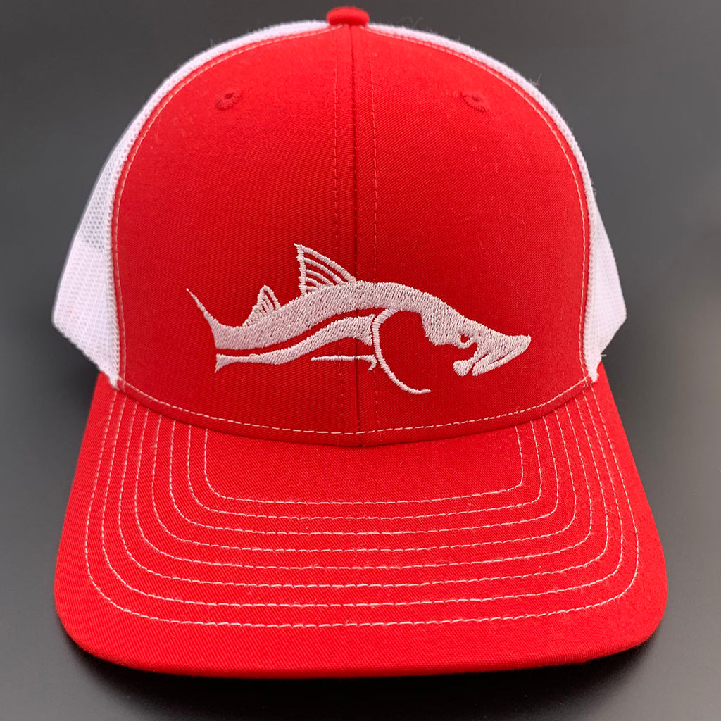 Trucker Hat Red White Mesh with White Snook Design