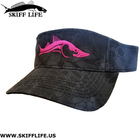 Womens Visor Hats Pink Snook Black Camo - Hats - Skiff Life