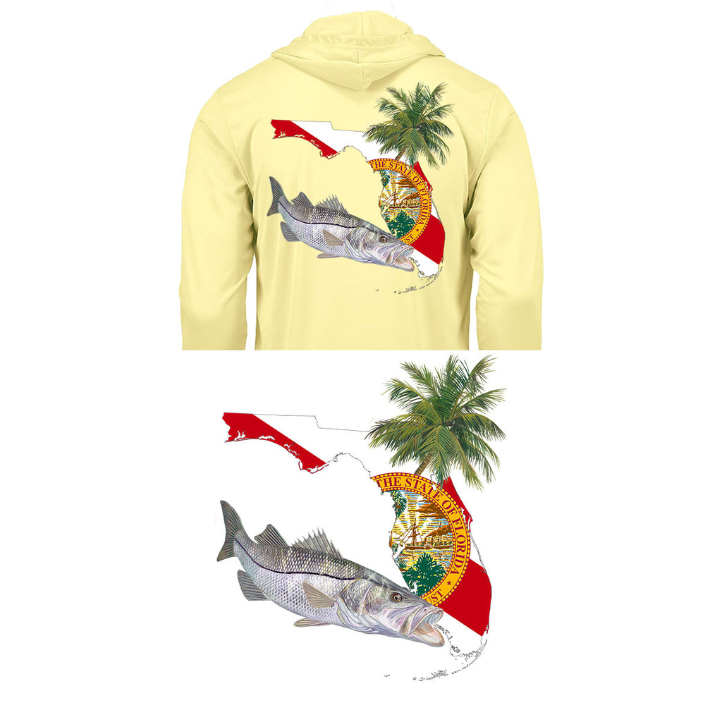 Hoodie Snook Florida Fishing Shirt with FL State Flag Sleeve - Skiff Life