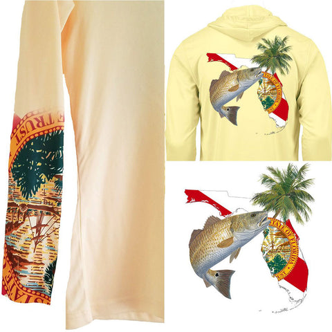 Hoodie Redfish Florida Fishing Shirt with FL State Flag Sleeve - Skiff Life