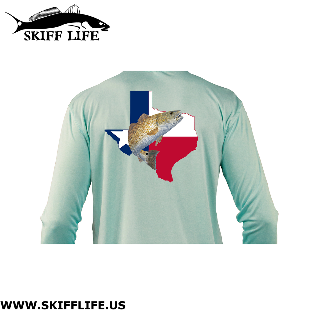 Youth/Kids Texas Redfish Fishing Shirt with TX Flag Sleeve - Skiff Life