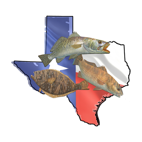 Texas Stickers Texas Slam with Fishing Decals - Skiff Life