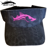 Womens Visor Hats Pink Snook Black Camo - Skiff Life