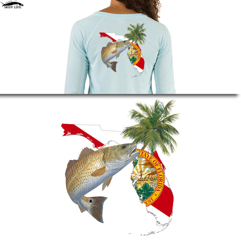 Womens Fishing Shirt Redfish Florida Flag - Skiff Life