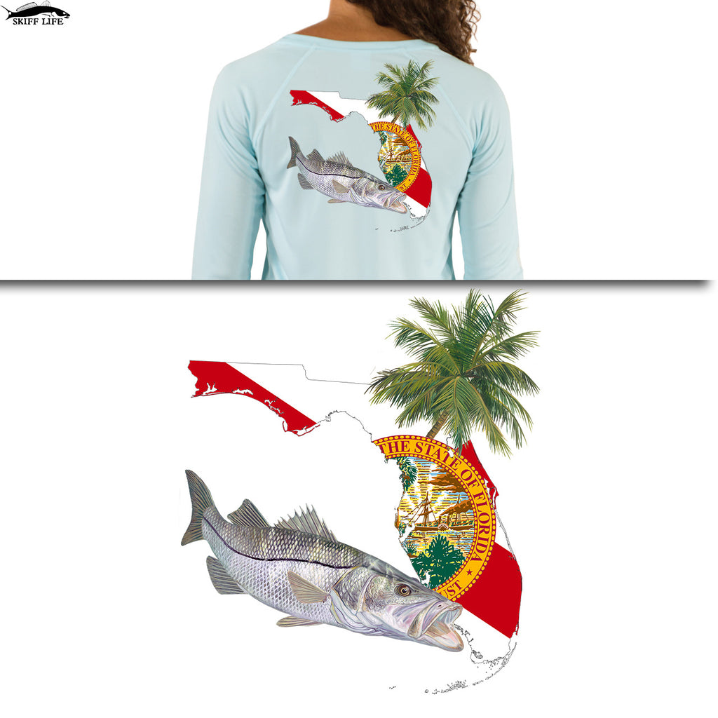 Womens Fishing Shirt Snook Florida Flag Custom Sleeve - Skiff Life