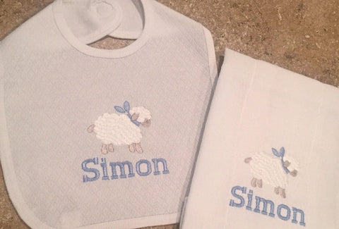 Baby Lamb Bib/Burp set
