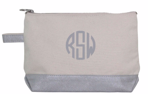 Canvas/Metallic Cosmetic Pouch