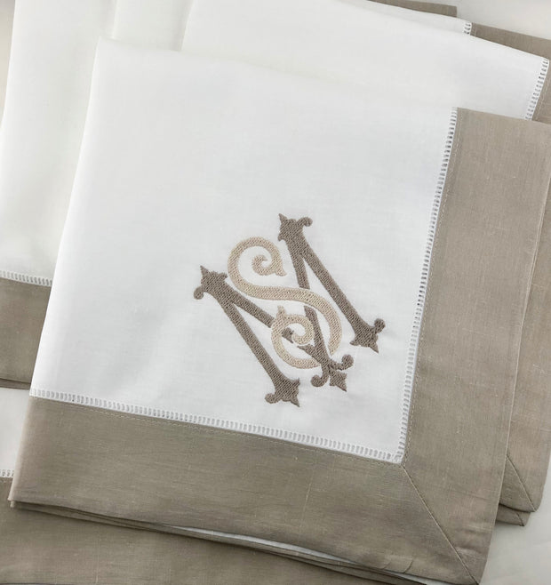 Linen Dinner Napkins with Border
