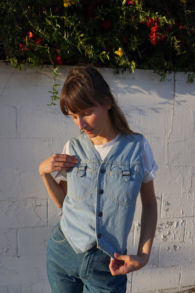 SALE 70s Denim Vest, Sz. M