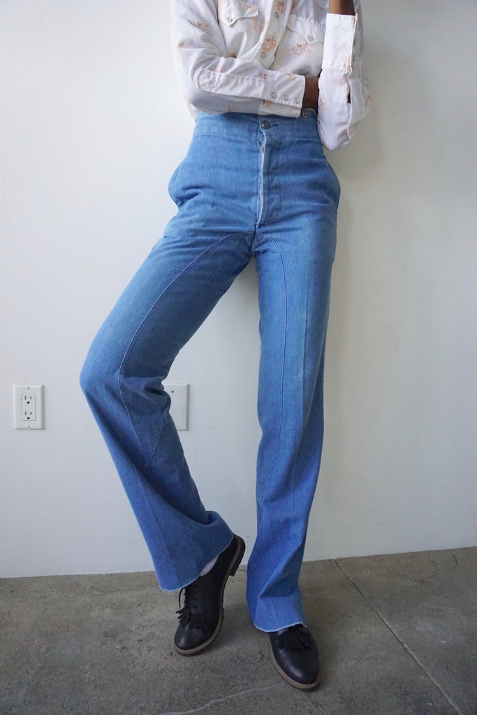 High Waisted Chambray Flare Pant, Sz. 28 x 35