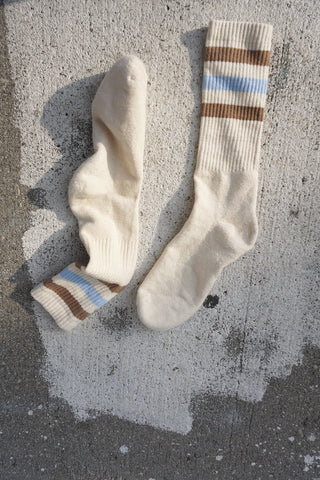 Jungmaven Hemp Socks, Sky Blue/Coyote Stripe