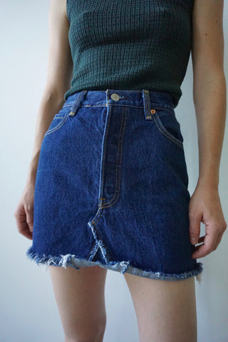 "Dark Denim Jean Skirt, Sz. 24"" Waist"