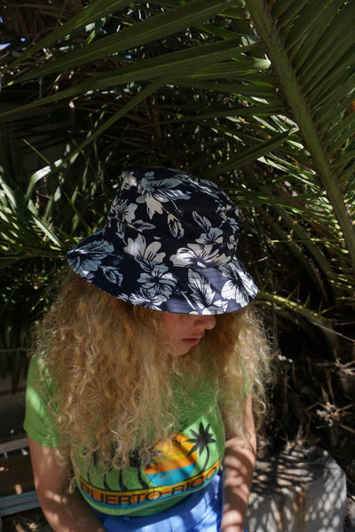 SALE Fisherman's Hat, Navy Hibiscus, Sz. M