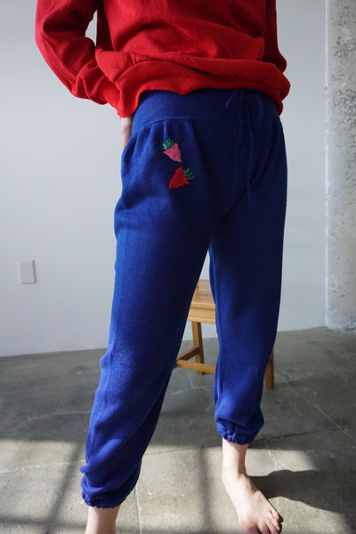 Embroidered 70s Sweatpants, Two Strawberries, Sz. XS - S