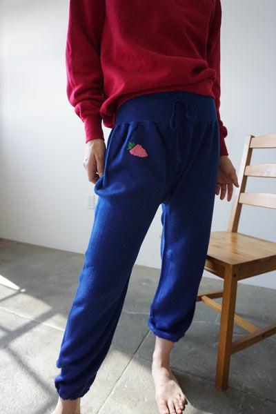 70s Embroidered Sweatpants, Pink Strawberry, Sz. XS - S